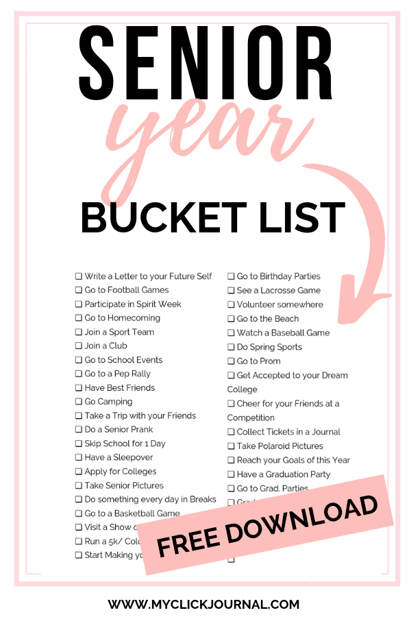 Bucket List 2020.Senior Year Bucket List 2019 2020 Myclickjournal