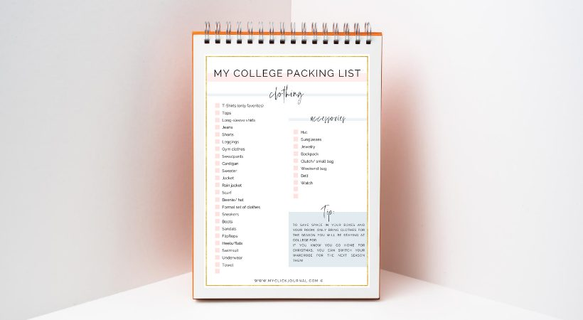 college packing list printable mockup