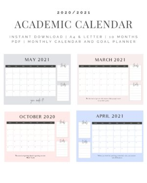 academic calendar for students- organization and time management -etsy
